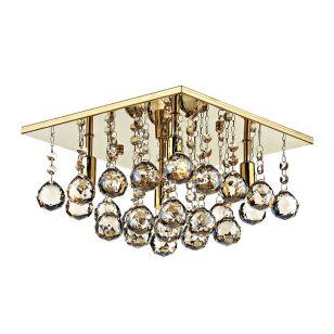 Dar Abacus Crystal Flush Light - Gold