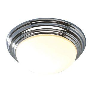 Dar Barclay Glass Flush Light - Polished Chrome