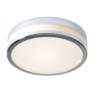 Dar Cyro Glass Small Flush Light - Polished Chrome