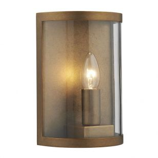 Dar Dusk Outdoor Half Lantern Wall Light - Natural Brass