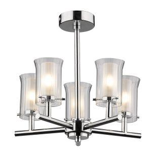Dar Elba 5 Light Glass Semi-Flush Ceiling Light - Polished Chrome
