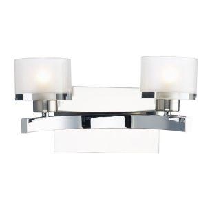 Dar Eton Glass Twin Wall Light - Polished Chrome