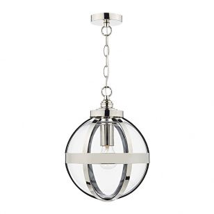 Dar Heath Glass Ceiling Pendant Light - Polished Nickel