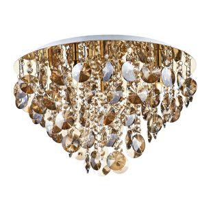 Dar Jester Crystal Flush Light - Gold