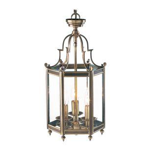 Dar Moorgate 3 Light Glass Ceiling Pendant Light - Antique Brass