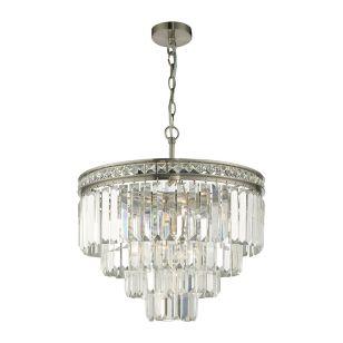 Dar Vyana 4 Light Crystal Ceiling Pendant Light - Nickel