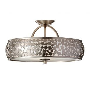 Feiss Zara Semi-Flush Ceiling Light - Brushed Steel