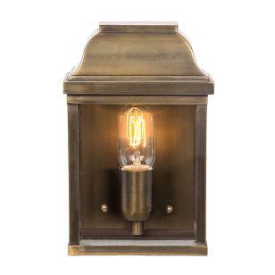 Elstead Victoria Half Lantern Outdoor Wall Light - Brass