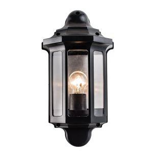 Saxby Traditional Half Lantern Outdoor Wall Light - Black