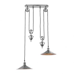 Endon Victoria 2 Light Rise and Fall Bar Ceiling Pendant Light - Brass