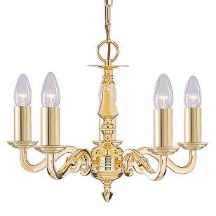 Searchlight Seville 5 Light Chandelier - Polished Brass