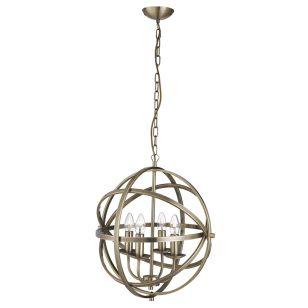 Searchlight Orbit 4 Arm Ceiling Pendant Light - Antique Brass
