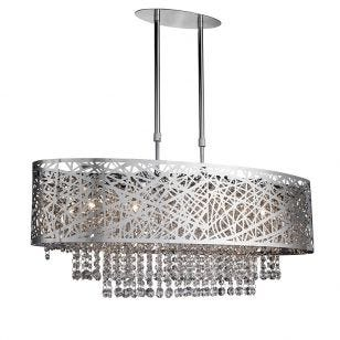 Searchlight Mica Bar Ceiling Pendant Light - Chrome