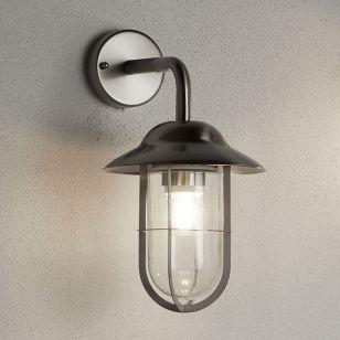 Searchlight Toronto Outdoor Lantern Wall Light - Satin Silver