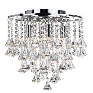 Searchlight Dorchester Crystal Flush Ceiling Light - Chrome