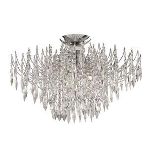 Searchlight Waterfall Semi-Flush Ceiling Light - Crystal
