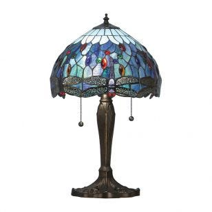 Interiors 1900 Dragonfly Tiffany Style Small Table Lamp - Blue