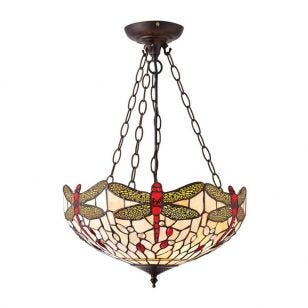Interiors 1900 Dragonfly Tiffany Style Medium Inverted Ceiling Pendant Light - Beige