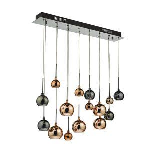Dar Aurelia 15 Light Bar Ceiling Pendant - Black Chrome