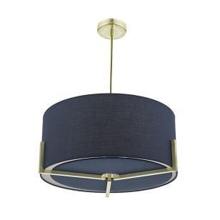 Dar Santino Fabric Ceiling Pendant Light - Blue