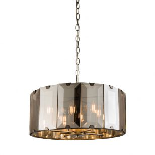 Edit Amal Large Glass Ceiling Pendant Light - Smoked