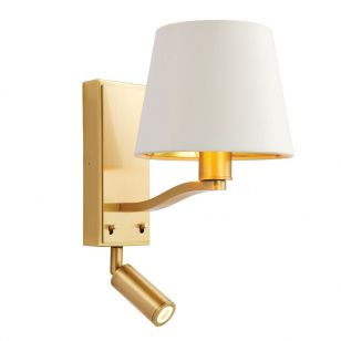 Edit Midtown Wall Light with LED Reading Light - Brushed Brass