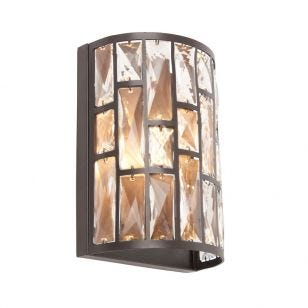Edit Rockefellar Flush Crystal Wall Light - Dark Bronze