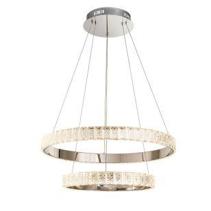 Edit Glitz Large Crystal LED Ceiling Pendant Light - Chrome