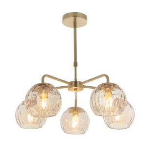 Endon Dimple 5 Arm Glass Ceiling Pendant Light - Champagne