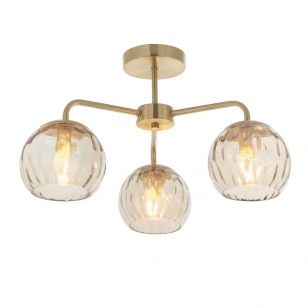 Endon Dimple 3 Arm Glass Semi-Flush Ceiling Pendant - Champagne