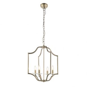 Endon Lainey 4 Arm Ceiling Pendant Light - Antique Brass