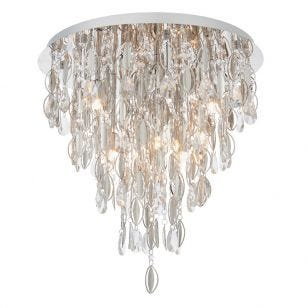 Endon Melody Large Crystal Flush Light - Chrome