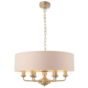 Endon Highclere 6 Light Ceiling Pendant Light - Blush Pink