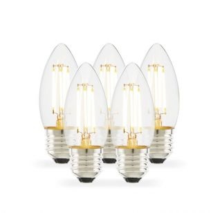 Tagra 4W Warm White Dimmable LED Decorative Filament Candle Bulb - Screw Cap - Pack of 5