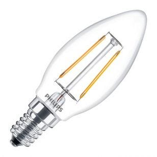 Philips Classic 2W Warm White LED Decorative Filament Candle Bulb - Small Screw Cap