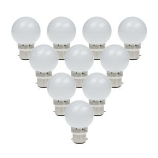 1W Daylight LED Golf Ball Bulb - Bayonet Cap - Pack of 10