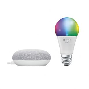 Ledvance Smart+ 9W White and Colour Selectable LED Dimmable Bluetooth GLS Bulb with Google Nest Mini Starter Kit  - Screw Cap