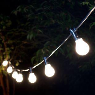 10M Weatherproof Festoon Lighting - 10 Black Bulb Holders