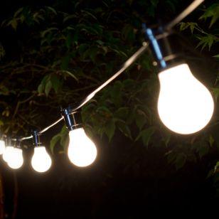 22M Weatherproof Cool White LED Black Festoon Lighting Kit - 20 Lights