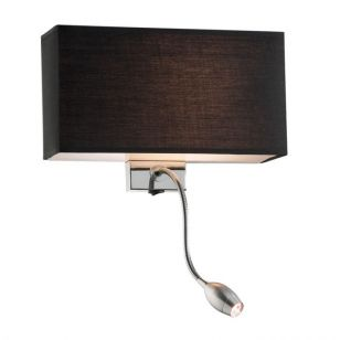 Hotel Wall Light with LED Reading Light - Black