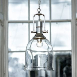 Dar Nolan Dual Mount Glass Ceiling Pendant Light - Polished Chrome
