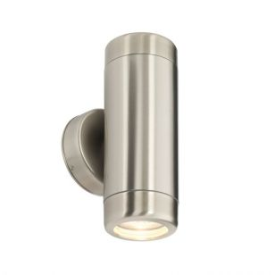 Saxby Atlantis Outdoor Up & Down Wall Light - Brushed Steel