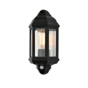 Forum Coastal Athena Half Lantern Outdoor Wall Light with PIR Sensor - Black