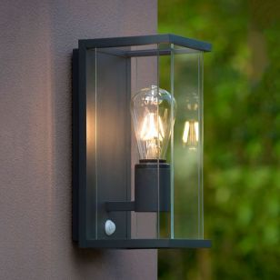 Lucide Claire Half Lantern Outdoor Wall Light with PIR Sensor - Anthracite