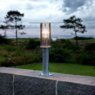Konstsmide Raw Outdoor Pedestal Light - Galvanised Steel