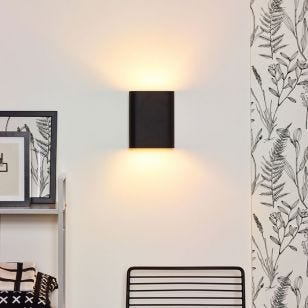 Lucide Ovalis Up & Down Wall Light - Black