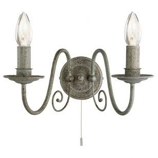 Farmhouse 2 Arm Wall Light - Distressed Grey