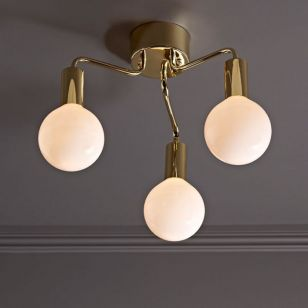 History 3 Arm Semi-Flush Ceiling Light - Polished Brass