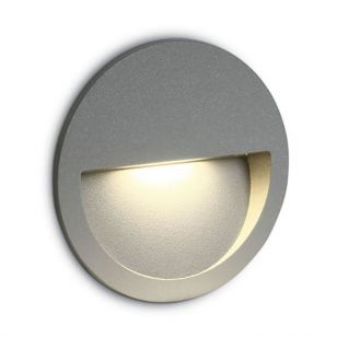Round LED Outdoor Wall Light - Light Grey