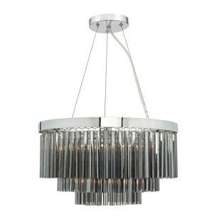 Dar Giovana 5 Light Chandelier - Smoked Glass
